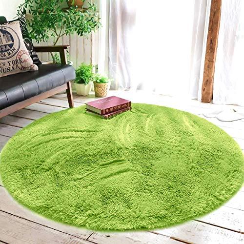 XINYUKEJI-Runde Teppiche,Teppich Seidige Glatte Teppiche, Dekorative Teppich Anti-Rutsch-Shaggy-Bereich Teppich Esszimmer Home Schlafzimmer - (Grün, 120x120cm)