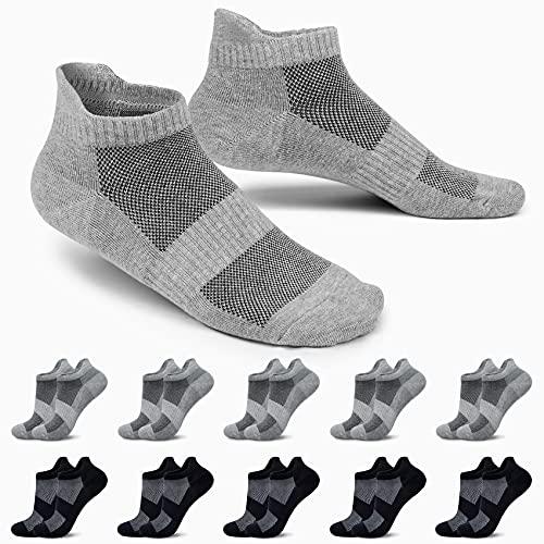 EKSHER Sneaker Socken Herren Damen Baumwolle Sportsocken Laufsocken Atmungsaktive 10 Paar Kurze Socken Schwarz Grau 39-42