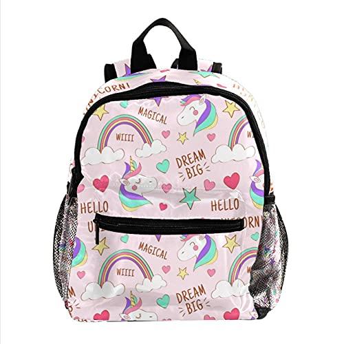 Mochila Escolar Unicornio Rosa Mochila para Niños 3-8 Años Infantil Guarderia Backpack 25.4x10x30 CM