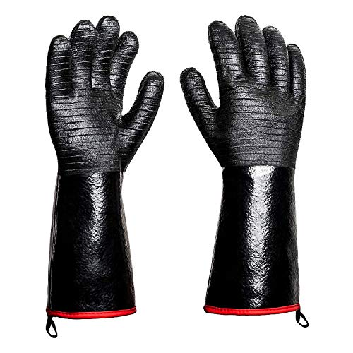 Rayocon BBQ Grill Gloves 932°F Heat Resistance Barbecue Grilling Gloves Smoker Kitchen Oven Mitts Cooking Gloves for Turkey Fryer/Smoking/Baking/Welding/Frying, 14 Inch (14 inch)