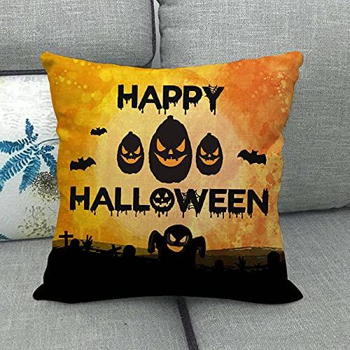 Dafang Halloween Pumpkin Lino Throw Pillowcase Almohada Cojín Explosion Home 837-12_45 * 45cm