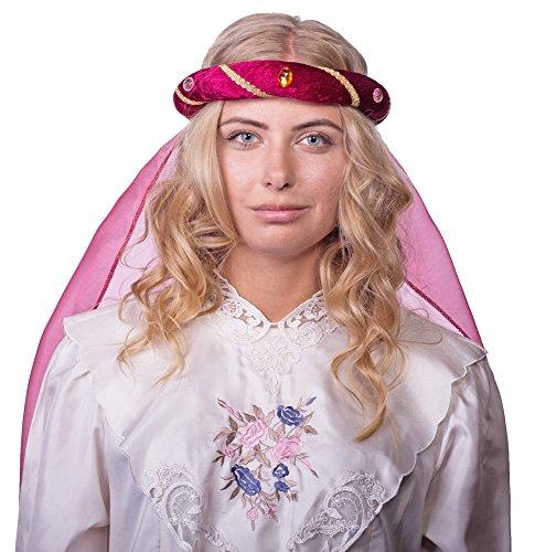 Das Kostümland Mittelalter Haarband Rosalin für Damen zum Prinzessin oder Burgfräulein Kostüm - Weinrot