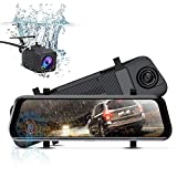 ITRUE X10 Waterproof Backup Camera 10' Mirror Dash Cam Video Streaming Rear View Mirror Dual-Lens 1080P Camera with Travel Apse