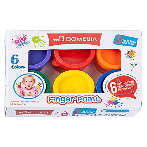 RROVE Pinturas para los Dedos, Pintura Lavable para Gouache, para niños, Escuela, Pintura para los Dedos, 30 ml, 6 Colores