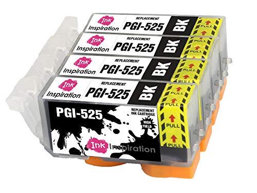INK INSPIRATION® Ersatz für Canon PGI-525 PGI-525BK Schwarz Druckerpatronen 4er-Pack, kompatibel mit Canon Pixma MG5350 MG5250 MG5150 MG6150 MG6250 iX6550 iP4850 iP4950 MX895 MX885 MG8150 MG8250