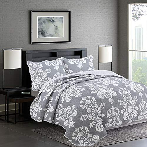 Bling de 3 Piezas del edredón del lecho, Gris/Azul Impresa Flor de la Vendimia 100% algodón Reversible cobertor para la Mujer,Gris