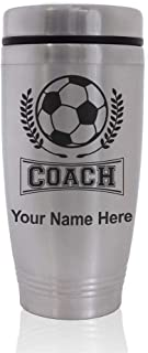 Commuter Travel Mug, Soccer Coach, Personalized Engraving Included