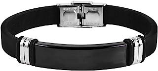 Brillibrum ID armband äkta läder rostfritt stål med gravyrplatta silver guld läderarmband svart partner-smycke vänskapsarm...