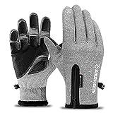 Neusky wasserdichter Touchscreen Handschuhe Winterhandschuhe Warme Handschuhe Sports Handschuhe Fahrradhandschuhe Laufhandschuhe für Damen und Herren (Grau, L)