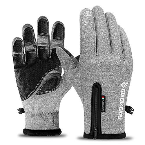 Neusky wasserdichte Touchscreen Handschuhe Winterhandschuhe Warme Handschuhe Sports Handschuhe Fahrradhandschuhe Laufhandschuhe für Damen und Herren (Grau, XL)