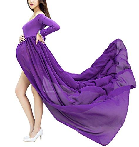 Happy Cherry Maxi Vestidos de Maternidad Fotografía Props Disfraz Apoyo Fotográfico para Mujeres Embarazadas, Color Púrpura