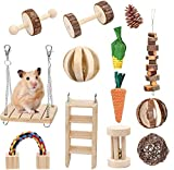 Bojafa Hamster Chew Toys, Wooden Guinea Pig Toys 13-Pack Natural Teeth Care Molar Toys for Degu Syrian Gerbil Chinchilla Chew Exercise