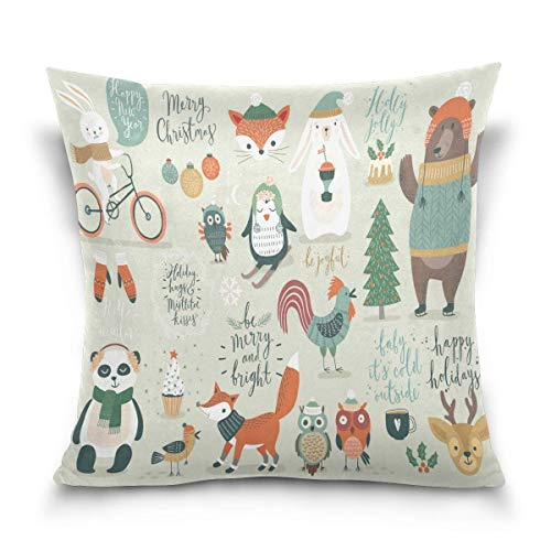 lucies Throw Pillow Case Decorative Cushion Cover Square Pillowcase, Christmas Cartoon Owl Bear Fox Penguin Deer Rabbit Bunny Sofa Bed Pillow Case Cover(18x18inch) Twin Sides