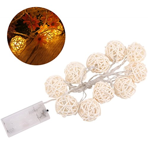 LEDMOMO Globe Rattan Ball String Lights,4.9feet 10 LED Warm White Fairy Light for Indoor,Bedroom,Patio,Lawn,Landscape,Fairy Garden,Home,Wedding,Christmas Tree,Party