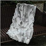 Natural Luxury Soft Premium Quality Durable Lush 100% Natural Gray Rabbit Fur Throw Blanket Blanket Rug Patchwork Skin Fur Rug Plate Pelz Leather Pelt (22in x 43in)