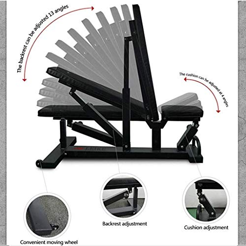 YZPTYD Foldable Weight Bench Commercial Weight Bench Adjustable Sit-up Fitness Equipment Home Fitness Equipment Sports Trainer Gym Quality Load 300kg,Colour:Black