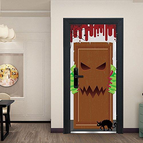 TXFMT Wandbord, voor Halloween, voor 3D-deuren, zelfklevend, voor huisdeuren, zelfklevend, 95 x 215 cm