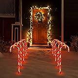Honeyhouse Luces de Bastón de Navidad, Bastones de Caramelo Luces de Hadas Marcador de Camino de Navidad Iluminación LED de Paisaje Funciona con Pilas Impermeable para Decoración Navideña (5 Pcs)