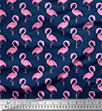 Soimoi Blue Cotton Cambric Fabric Flamingo Bird Print Fabric by The Yard 42 Inch Wide