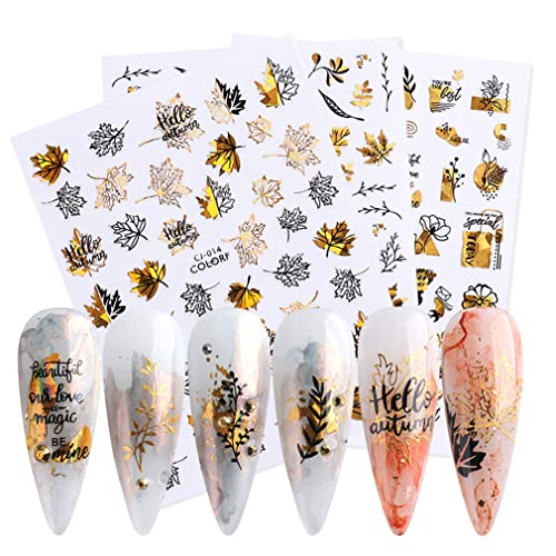 Fall Nail Art Stickers 3D Maple Leaves Nail Supplies 8 Sheets Self-Adhesive Maple Leaf Butterfly Abstract Face Rose Gold Black Designs Nail Accessories for Women and Girls DIY Acrylic Nail Art