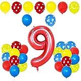 JJZS Balloon Polka Dot Theme Kid Cumpleaños Baby Shower Aniversario Fiesta Decoración Látex Número Rojo Globo Set Suministros, 9