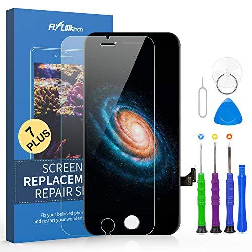 FLYLINKTECH Pantalla Táctil LCD Reemplazo para iPhone 7 Plus Negro 5.5' Contiene Herramientas + película de Vidrio Templado - Negro