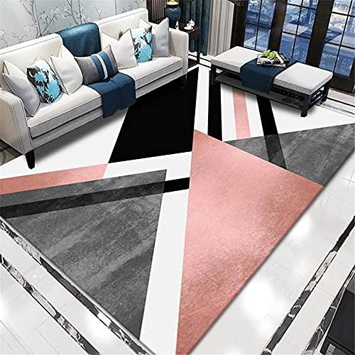 alfombrassalonbaratas alfombrassalonbaratas Modelo geométrico Negro Rosa Alfombra Moderna de Estilo Minimalista Renovación de viviendas 60x90cm