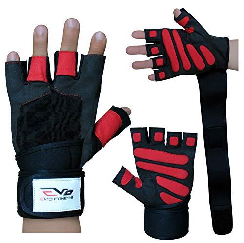 EVO Fitness Leder- Gewichthebe-Handschuhe Gym Neopren Handgelenkbandagen Unterstützung Riemen Rollstuhl Radsport - Large