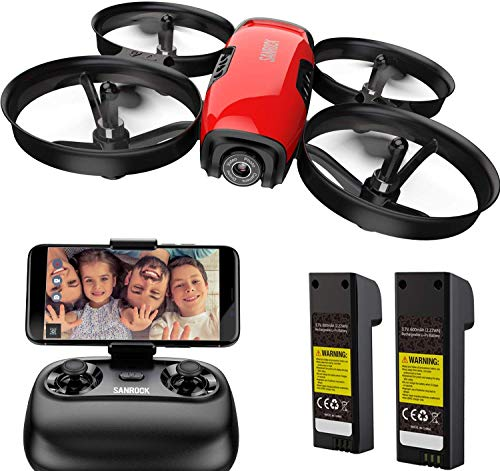 SANROCK U61W Drone for Kids with Camera, RC Quadcopter with 720P HD WiFi FPV Camera, Altitude Hold, Route Making, Headless Mode, One-Key Take Off/Landing, Emergency Stop, Great Gifts for Boys Girls