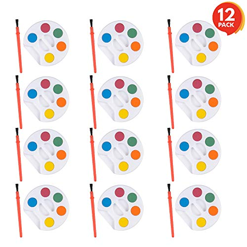 ArtCreativity Mini Paint Sets - Pack of 12 - Each Set Incudes Five Water Paint Colors Paint in Tray with Painting Brush - Artistic Crafts and Supplies - Great for Schools, Party Favor, Prize for Kids