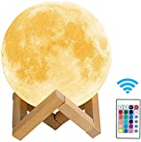 toyuugo Moon lamp (5.9 Inch), 3D Print LED Moon Light Lamp Moon Light for Kids, Dimmable Touch Control Brightness Light for Home Decoration and Gifts for Lover,Parents,Friends, 16 RGB Color