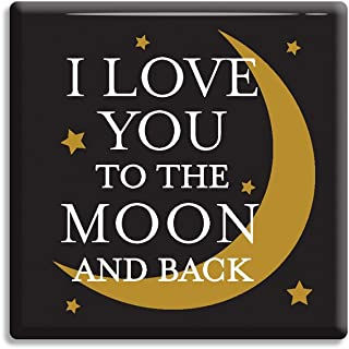 Elanze Designs Love You to The Moon and Back 2.5 x 2.5 Hardboard Refrigerator Magnet Pack of 2
