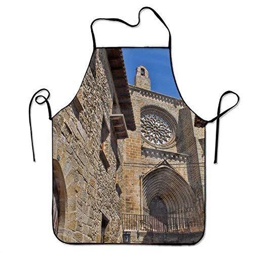 Eastlif Delantal originalidad Duradera Iglesia Valderrobres España Momument BBQ Delantal de Cocina para Hombres Damas