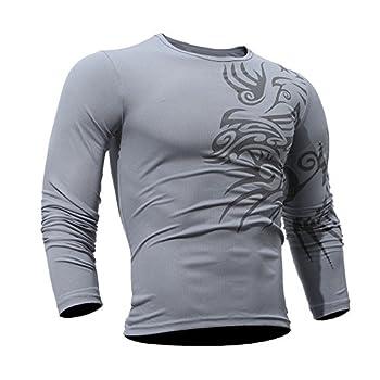 Printing T-Shirt Men s Long-Sleeved Blouse Men Fashion top Gray