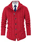 Men's Cable Knit Cardigan Sweaters Stand Collar Long Sleeve Sweater Size M Red