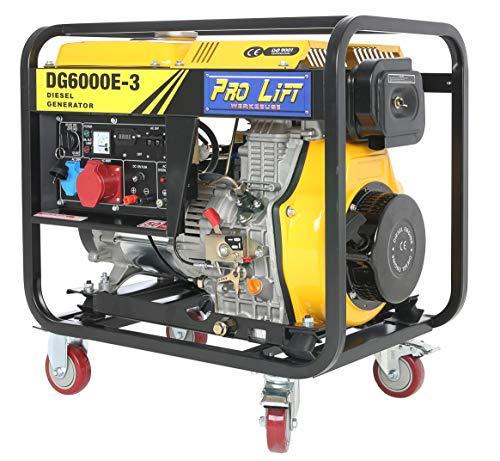 Pro-Lift-Werkzeuge Stromerzeuger 5500W Elektro-Starter 4-Takt-Diesel-Motor 380V Starkstrom Generator 230V Notstromaggragat 5,5kW Stromgenerator E-Starter