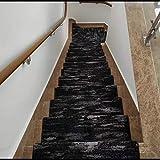 Anti-statique Thicken Tapis D'escaliers - Noir Blanc Escaliers Bande De Roulement Antiderapant, Fluff Haute...