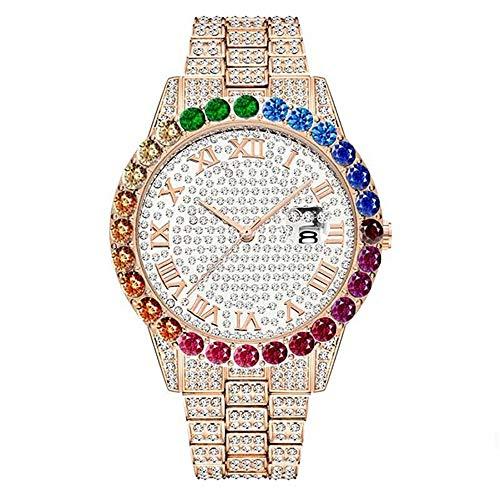 Blue98 Reloj de Diamantes para Hombre Reloj de Pulsera de Cuarzo Lujoso Helado Calendario con Esfera de Diamante 50M Reloj Impermeable de Hip Hop con arcoíris