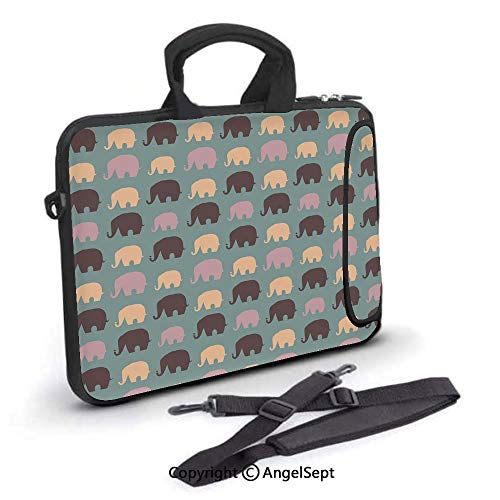13 inch Laptop Shoulder Bags,Repetitive Silhouettes of Elephant,Waterproof,Portable,Compatible iPad,MacBook Pro,Air,Surface