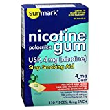Sunmark Nicotine Polacrilex Gum 4 mg Mint - 110 ct, Pack of 2