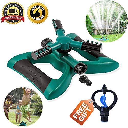 Lawn Sprinkler Automatic Sprinklers For Garden 360 Rotating Adjustable Garden Water Sprinklers For Lawns Irrigation System Covering Large Area With 3 Arm Sprayers Coverage Durable