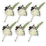 Famibay Boutonnieres White Foam Rose Ramillete Ojal Flores con Pin 6pcs Novia Boda Flores (Blanco)