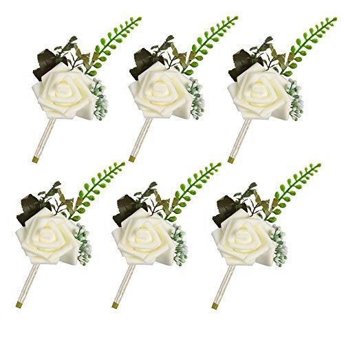 Famibay Rosas Ansteckblume Hochzeitsanstecker Blumen weiß Künstliche Boutonniere Bräutigam Braut (Weiß)