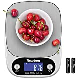 Newdora Bilancia da Cucina Smart Digitale con Funzione Tare,5kg/11 lbs Professionale Acciaio Inox...