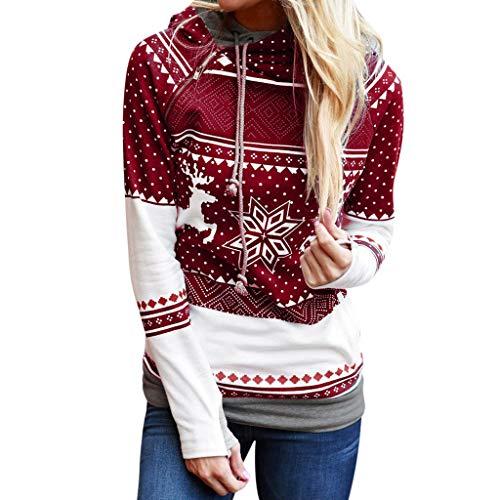 TUDUZ Damen Langarm Sweatshirt, Letter Merry Christmas Print Mit Kapuze Sweatshirts Loose Bluse Herbst Winter Party (L, Rot)