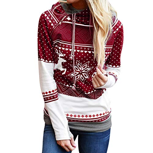 TUDUZ Damen Langarm Sweatshirt, Letter Merry Christmas Print Mit Kapuze Sweatshirts Loose Bluse Herbst Winter Party (S, Rot)