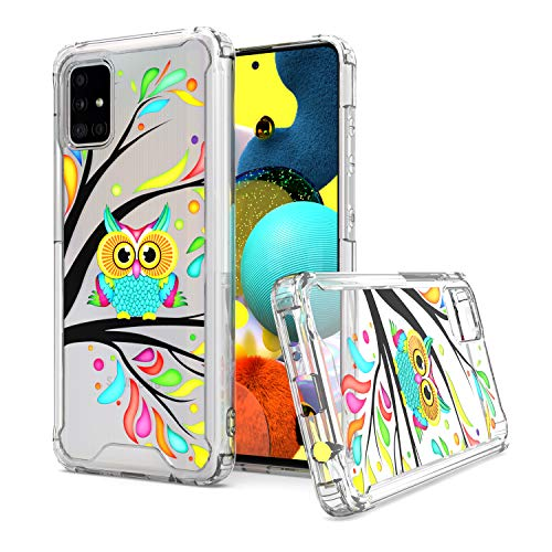 KWEICASE Cell Phone Case for Samsung Galaxy A51 5G, Clear Acrylic Backing with Colorful Cute Owl in The Tree Design, Slim Fit TPU Hybrid Shockproof Protective Cover