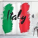 ABAKUHAUS Italien Duschvorhang, Italienische Flagge Bunte Grunge, aus Stoff inkl.12 Haken Digitaldruck Farbfest Langhaltig Bakterie Resistent, 175x220 cm, Mehrfarbig