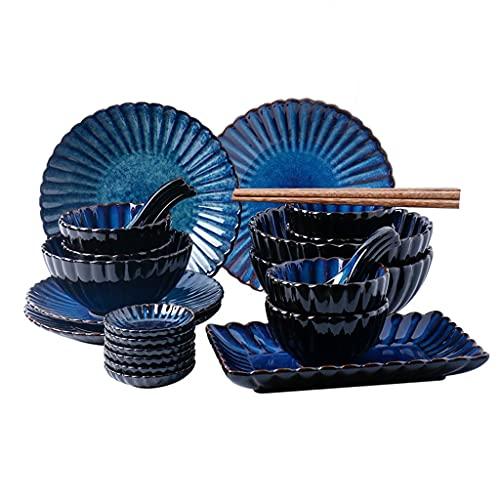 Sistema de Placa de Cena Japonesa Azul, Conjunto de vajillas de Cocina (2~6 Personas), Restaurante Occidental del Restaurante, Plato de Cena de cerámica, Puede ser Utilizado como Regalos