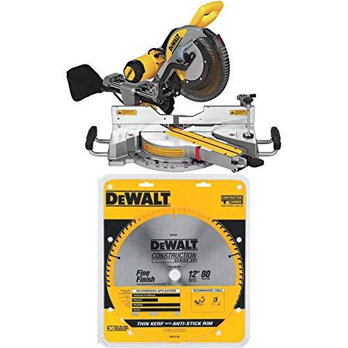 DEWALT DWS779 12' Sliding Compound Miter Saw with DEWALT DW3128 Series 20 12-Inch 80 Tooth ATB Thin Kerf Crosscutting Miter Saw Blade with 1-Inch Arbor